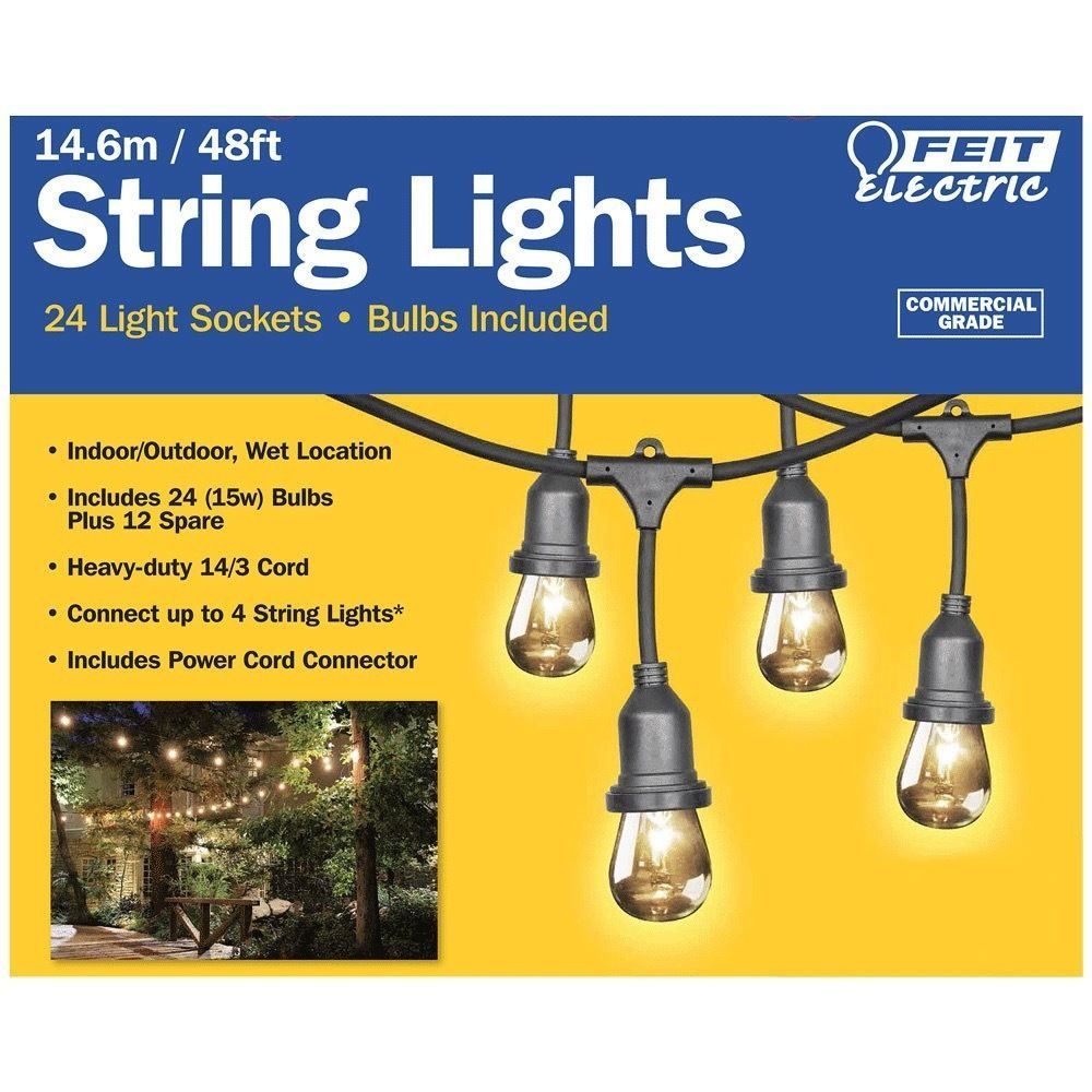FEIT 48ft (14.6m) Heavy Duty Weatherproof String Lights Set+36 Bulbs Patio/Yard eBay