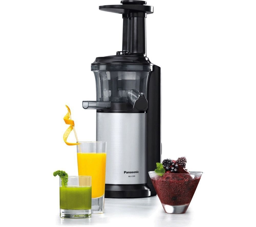 Slow Juicer Sorbetto : PANASONIC MJ-L500SXC Slow Juicer with Frozen Sorbet Attachment - Silver
