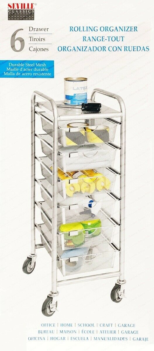 Seville Classics 6 Drawer Rolling Cart Organiser with Durable Steel Mesh Drawers