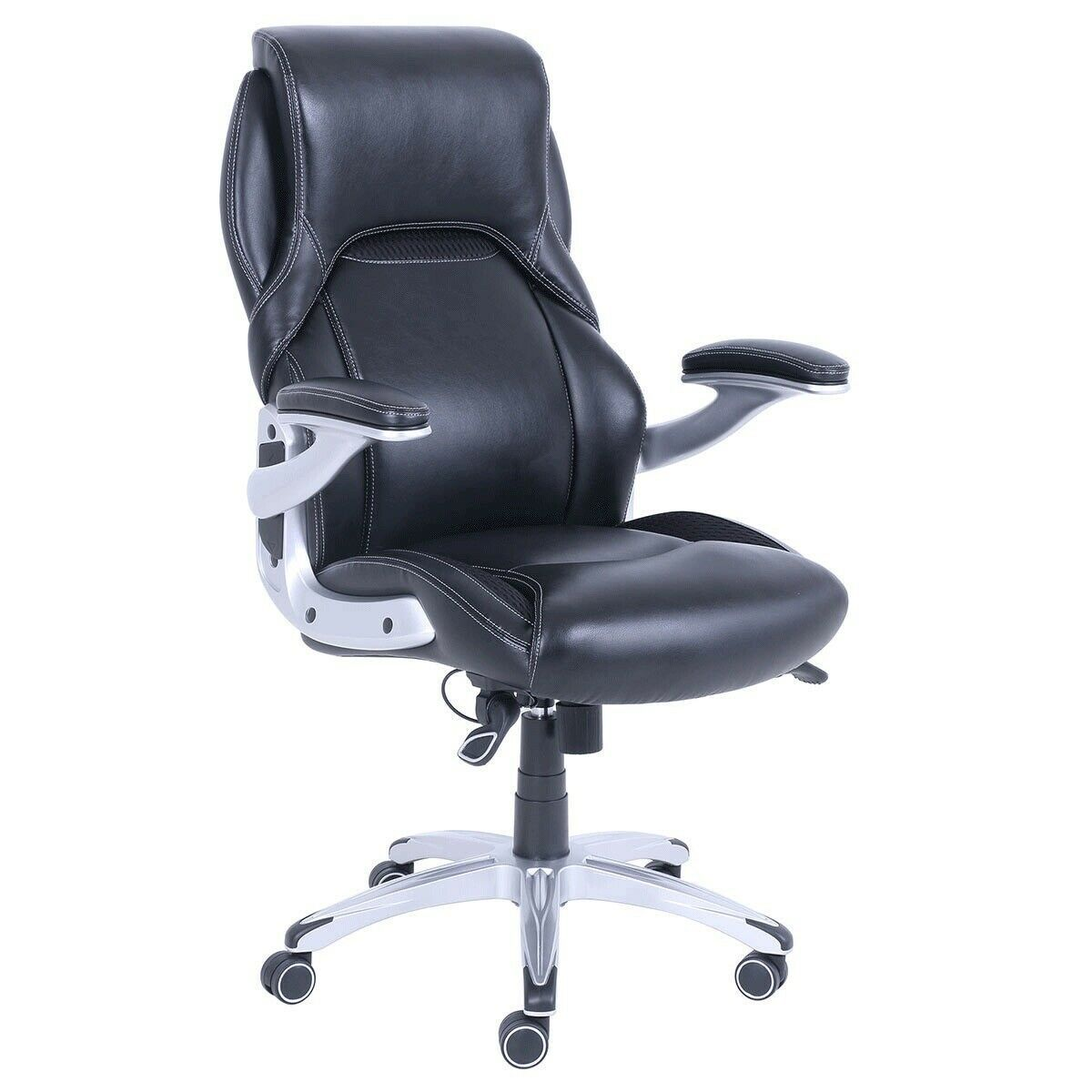 Magnificent True Wellness Black Bonded Leather Managers Executive Chair Machost Co Dining Chair Design Ideas Machostcouk