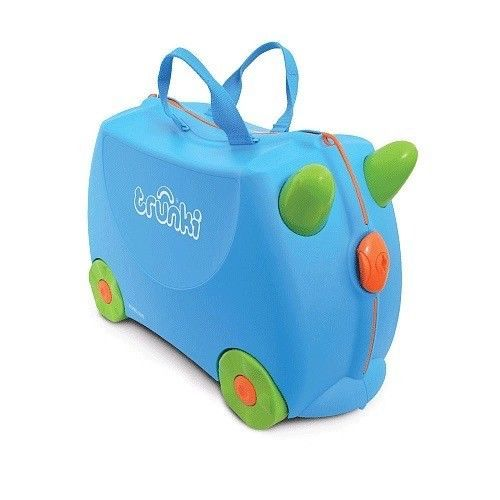 Trunki Terrance Ride On Hand Luggage Pull Along Suitcase For Children/Kids Blue